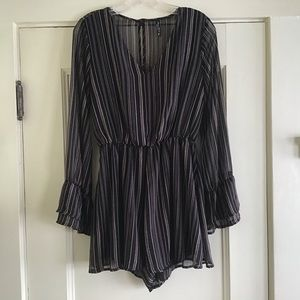 Bell Sleeve Tan and Black Striped Dressy Romper